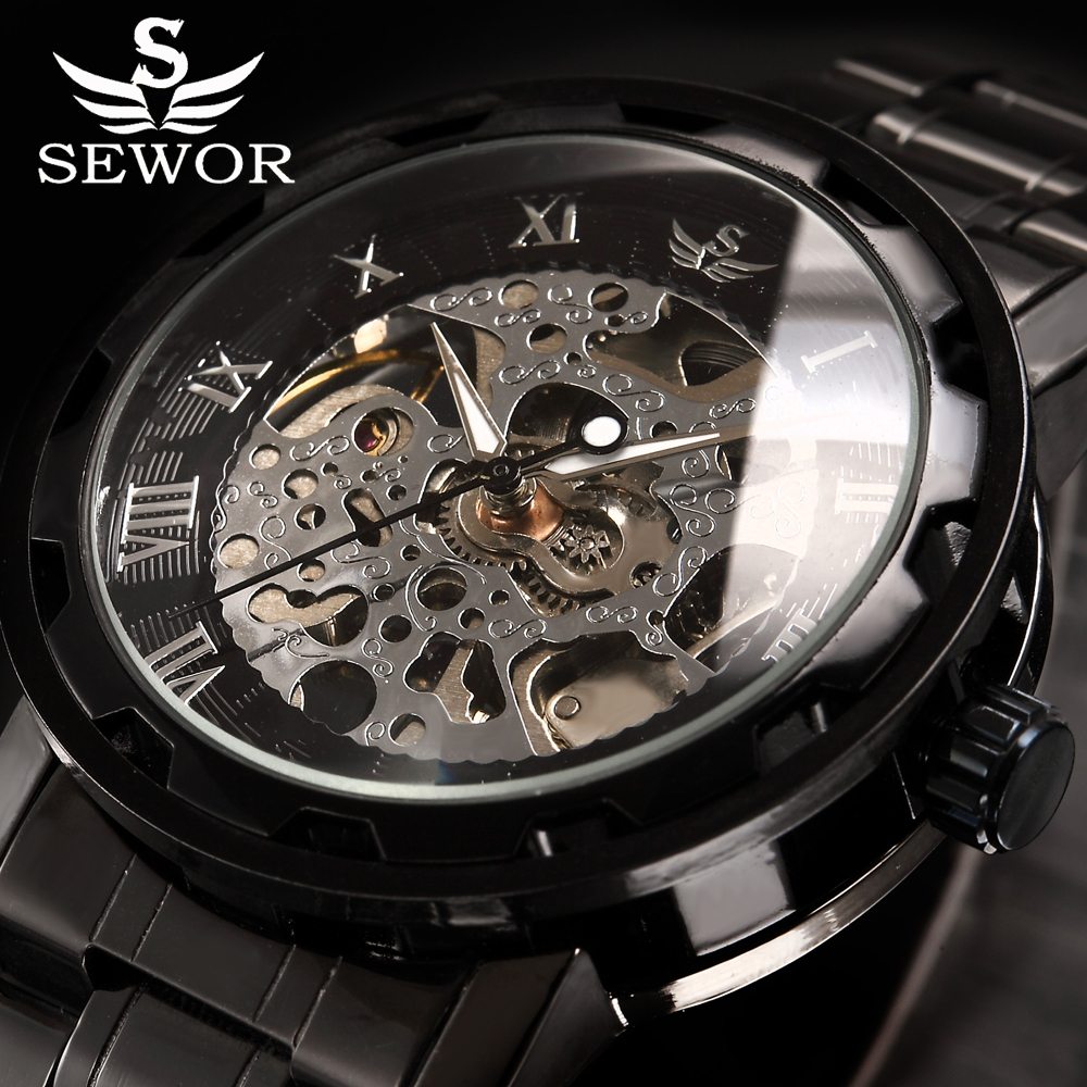 Skeleton Mechanical Watch Men SEWOR Top Brand Luxury Gold Clock Stainless Steel Men Watches Relogio Masculino Montre Homme hot new fashion sport sewor brand skeleton men business clock steel army leather mechanical luxury gold wrist dress watch gift