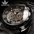 Relogio Masculino SEWOR Top Brand Luxury Skeleton Mechanical Watch Men Gold Clock Stainless Steel Mens Watches Montre Homme