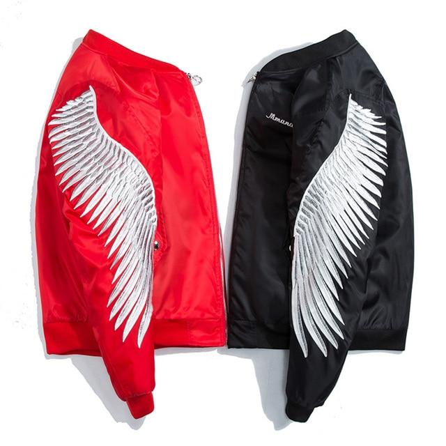 Дропшиппинг 2018 Новинка весны красный хлопковой подкладкой High Street крыло Вышивка куртка Для мужчин