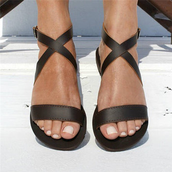 Women Sandals Summer Slip-On Peep Toe Casual Woman Shoes 2019 New Leather Soft Gladiator Sandals Fashion Female Footwear #40