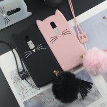 Sevimli 3D Karikatür Silikon Kılıf için Huawei Mate 10 Lite Kılıfları Japonya Glitter Sakal Kedi Güzel Kulaklar Kitty Telefon Ka...
