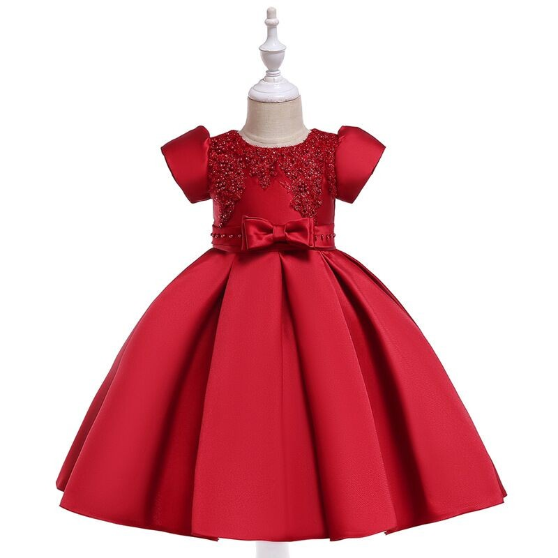 Lovely Seattle   Flower     Girls     Dress   Elegant Gown Lace Pearls Beaded Party   Dress   Holoday Wedding   Dress   Bow Beaded Waistline For Kid