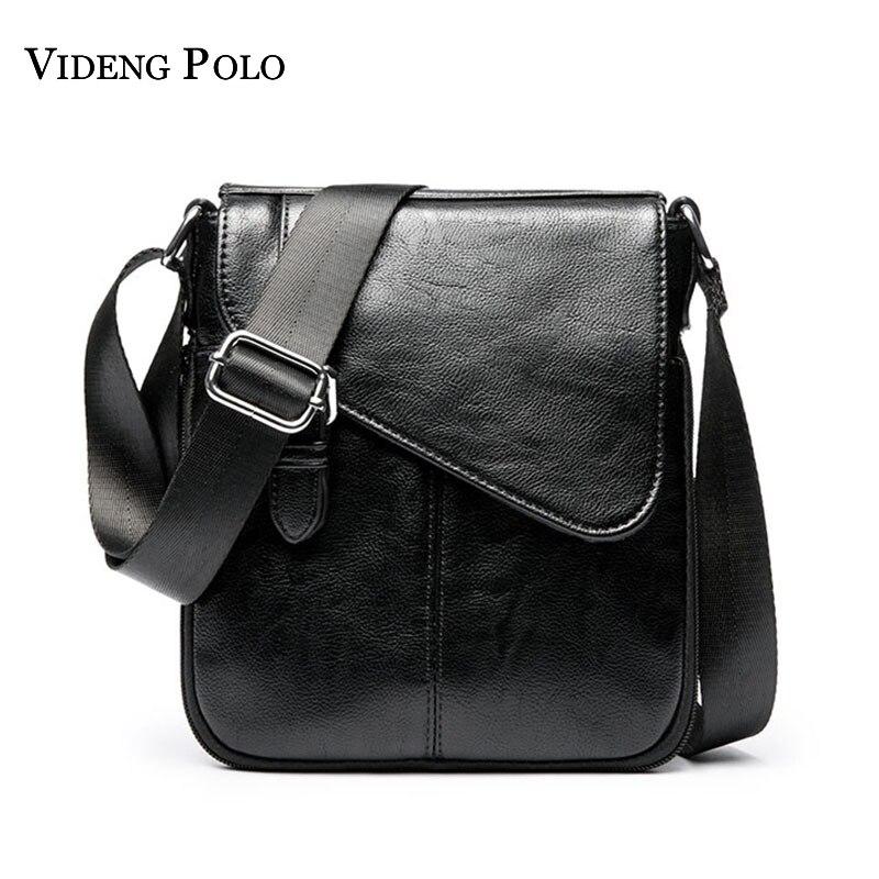 VIDENG POLO Brand Vintage Leather Men Small Crossbody Shoulder Bag Casual Business Mens Messenger Bag Mens Bolsas Masculina
