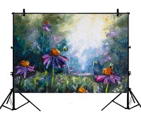 5x7ft Flowers Bees Scene Polyester Photo Background Portrait Backdrop