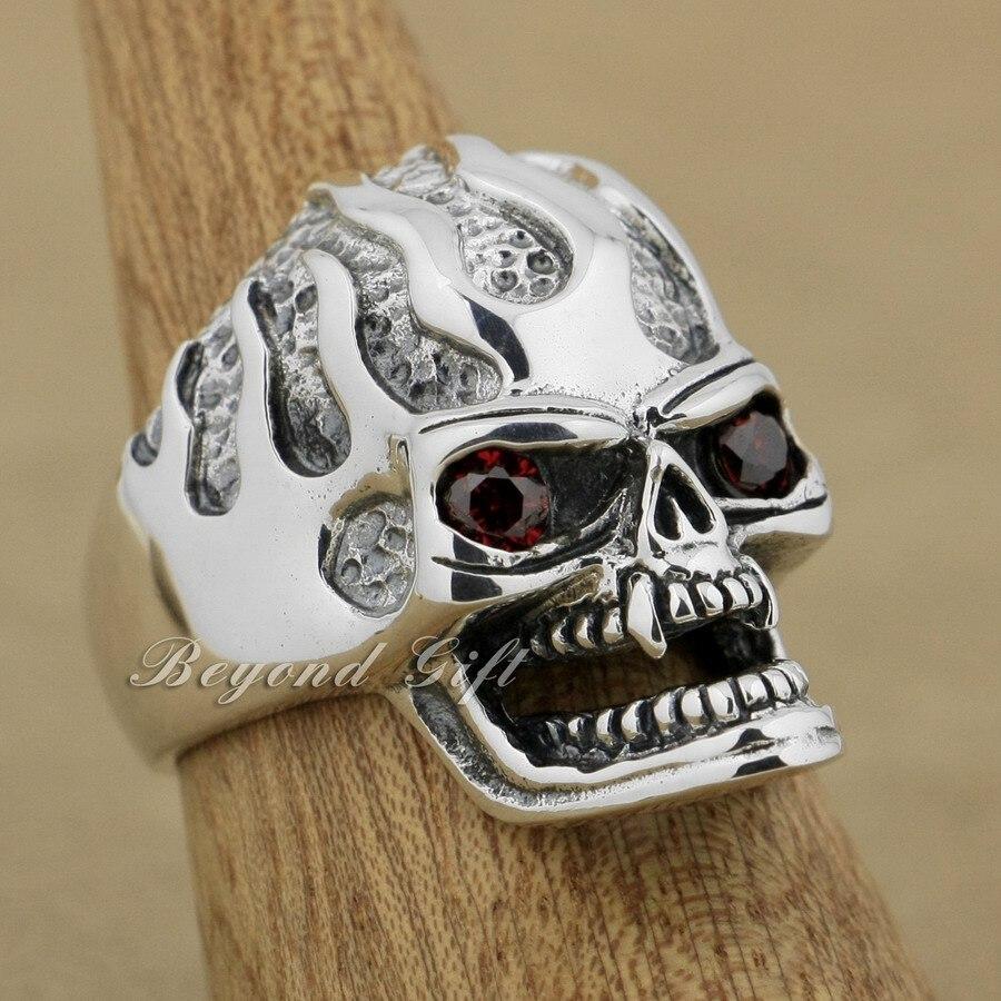 925 Sterling Silver Red CZ Eyes Skull Mens Biker Punk Ring 9Q020A US Size 8~13 r003 skull shaped titanium steel ring black silver us size 8