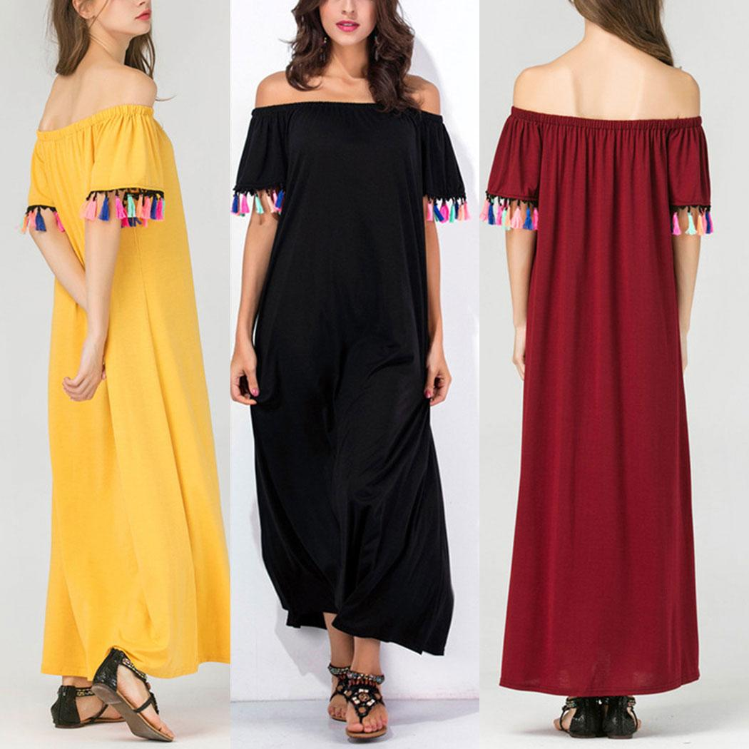 Your Wardrobe Sexy Off Shoulder Maxi Long Dress Slash Neck Loose Solid Summer Dress Sexy Beach Dress Plus Size Long Party Dresses Vestidos