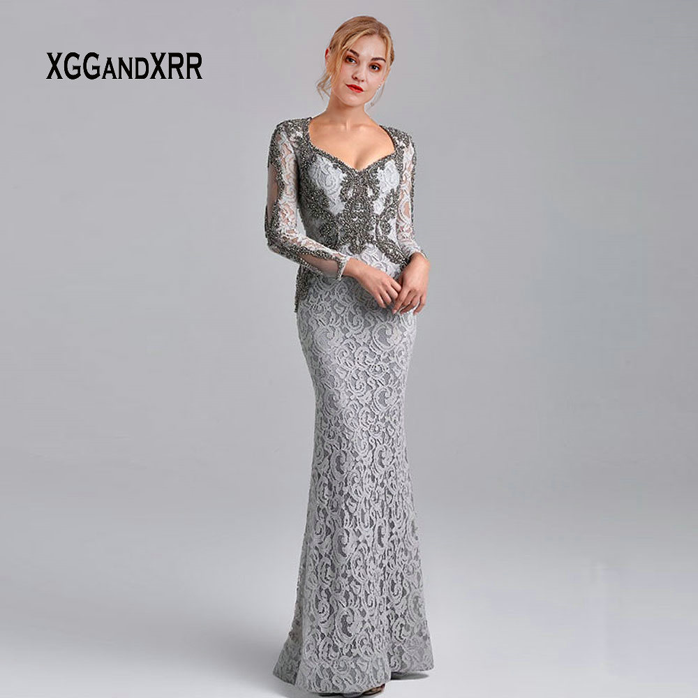 Elegant Long Sleeves Grey Long Mother Of Bride Dresses 2019 Square Neckline Heavy Beading Mermaid Lace Evening Dress Party Gown