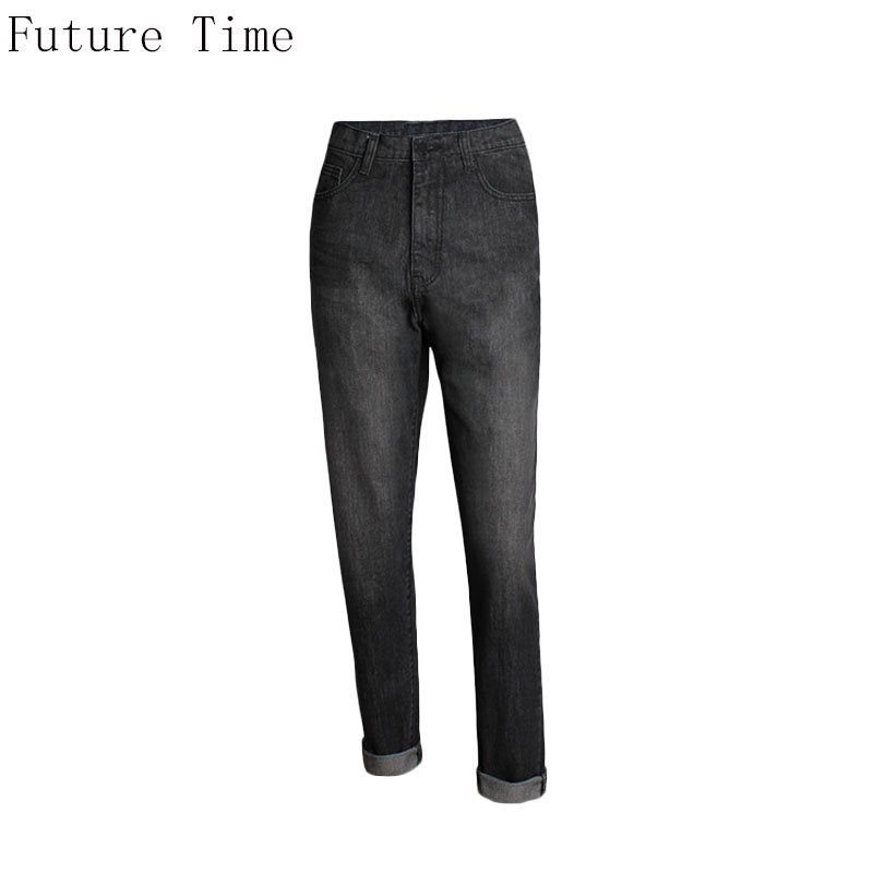 2017 Autumn New Boyfriend Women Jeans Loose Big  Size High Waist Straight Pants Black Casual Female Streetwear Lady Jeans NZ248