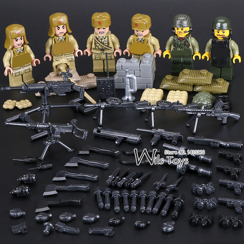 6pcs Chinese Army Military Soldier World War 2 Weapon SWAT Camouflage Gun Building Blocks Doll Figures Boy Educational Toy Gift 6pcs chinese army military world war 2 soldier swat weapon gun special force building blocks brick figures toy boy gift children