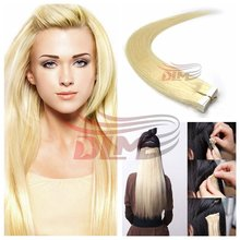 8A Brazilian Tape In Human Hair Extensions Double Drawn Blonde 60# Virgin Hair Tape Hair Straight Skin Weft Hair Extensions