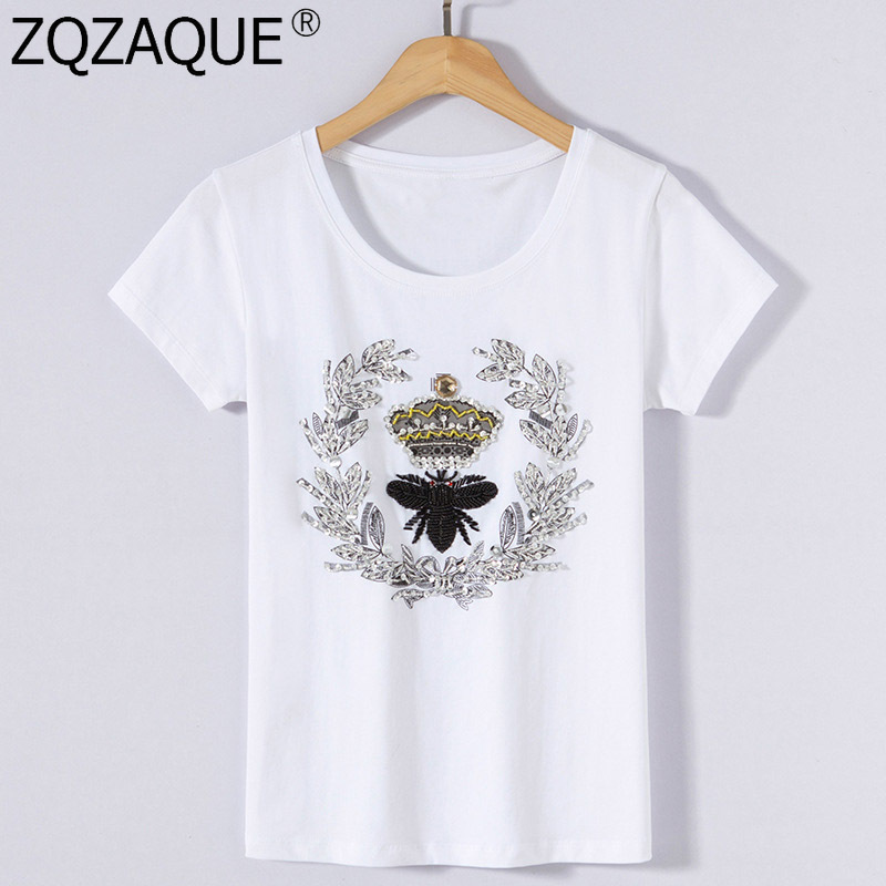New Fashion Trendy Cotton T-Shirts For Women Luxury Beading Sequins Bee Crown Pattern Good Quality Summer Autumn O Neck Tops