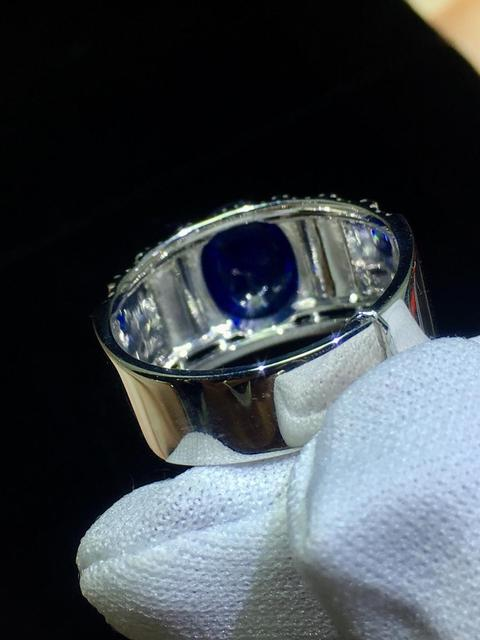 Fine Jewelry Real 18K Rose Gold 100% Natural 2.62ct Blue Sapphire Gemstone 18k Gold Diamonds Stone Male Ring for MEN RINGS