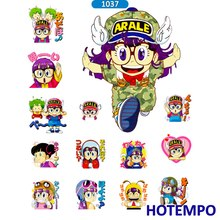 ФОТО hotempo 2 sheets pvc waterproof dr. iq arale stickers diy scrapbooking children letter diary pegatinas sticker