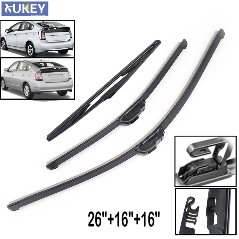 Xukey Front Rear Wiper Blades Set Kit Windscreen For Toyota Prius