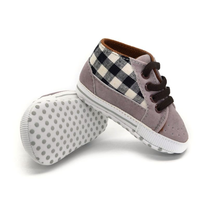 Toddler Infant Baby Boy Shoes Laces Casual Sneaker PU Plaid Soft Sole Crib Shoes 9
