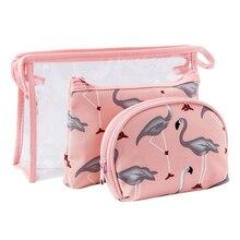 3 Pcs/set New Color Flamingo Lady Cosmetic Pack Set Wash Bag Makeup Travel Storage Case
