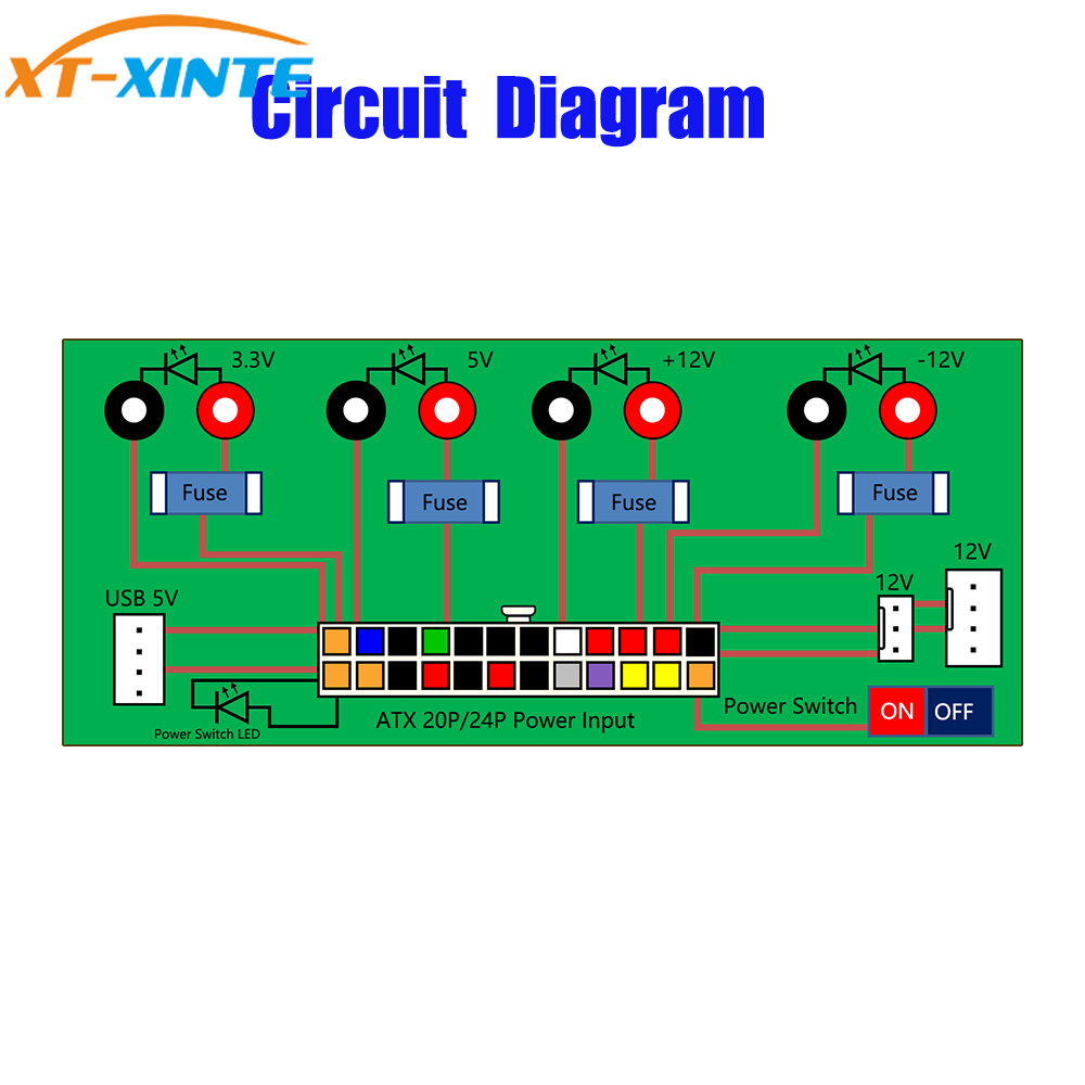 Electric Circuit 24pins Atx Benchtop Computer Power Supply Breakout Main Pin Connector Schematic Board Dc Plug With Usb 5v Port In Cables Connectors From