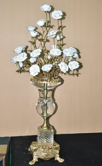 Free Shipping Antique Brass Table Decorations With Crystal Home Decoration Ceramic Flowers