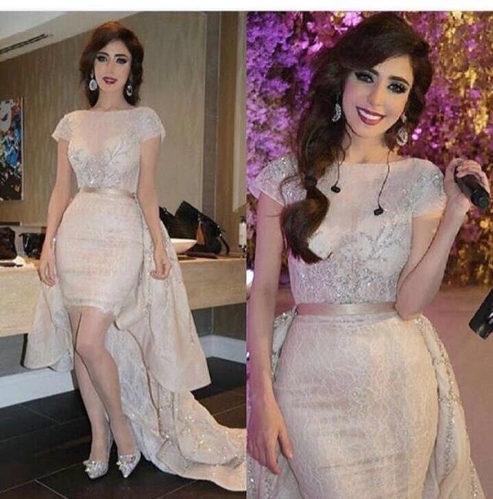 50b3126435d Легкий кремовый цвет кружевное с короткими рукавами вечернее платье 2018  совок шеи Элегантные Высокие Низкие арабский