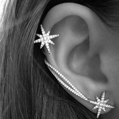 Fashion Korean Cute Zircon Double Side Star Clip Earrings with Stud for Women Girl Crystal Wrap Ear Cuff Earring Jewelry Brincos золотые серьги по уху