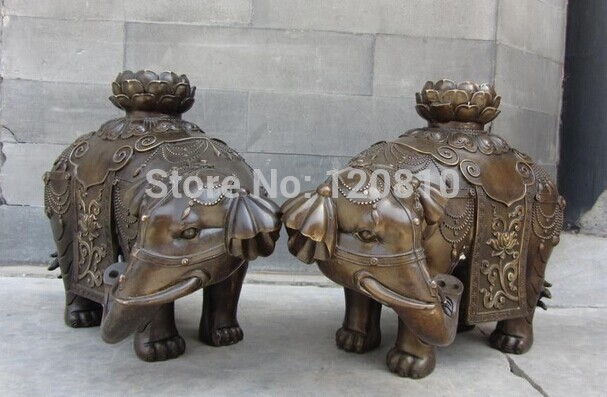 10 Chinese Folk Feng Shui Bronze Lucky Fu Foo Lotus Flower Elephant Statue Pair