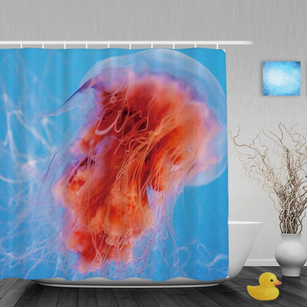 Ocean shower curtain - Orange Jellyfish Floating Bathroom Shower Curtain Swimming In Blue Ocean Shower Curtains Waterproof Polyester Fabric With