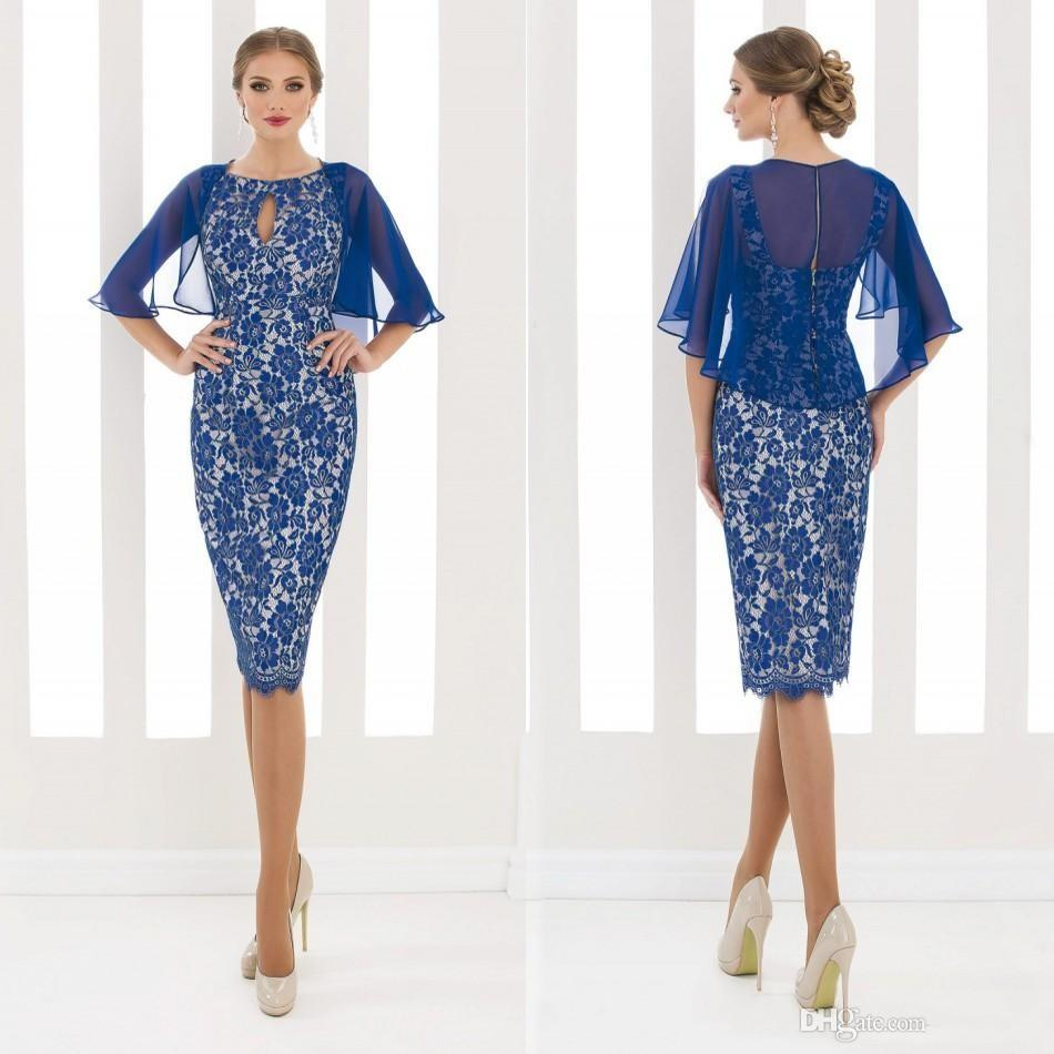 59efa5db9c910 Elegant Short Sleeves Lace Royal Blue Dress Knee Length. Elegant Short  Sleeves. Popular Bridal Pants Buy Cheap Bridal Pants lots from
