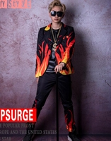 Men in Europe and the han edition of the new fashion personality, cultivate one's morality singer host flame pattern suit/M 2XL