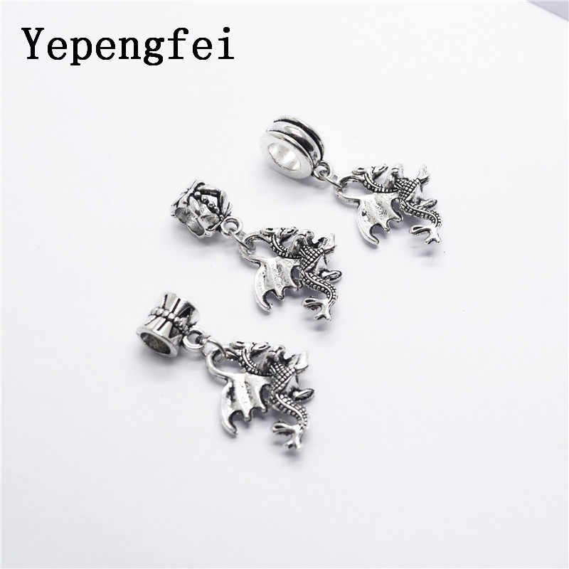4a5050f7e Detail Feedback Questions about 10pcs Dragon European Bead Vintage Silver  Charms fit for pandora style Bracelets Necklace DIY Metal Jewelry Making  JA600013 ...