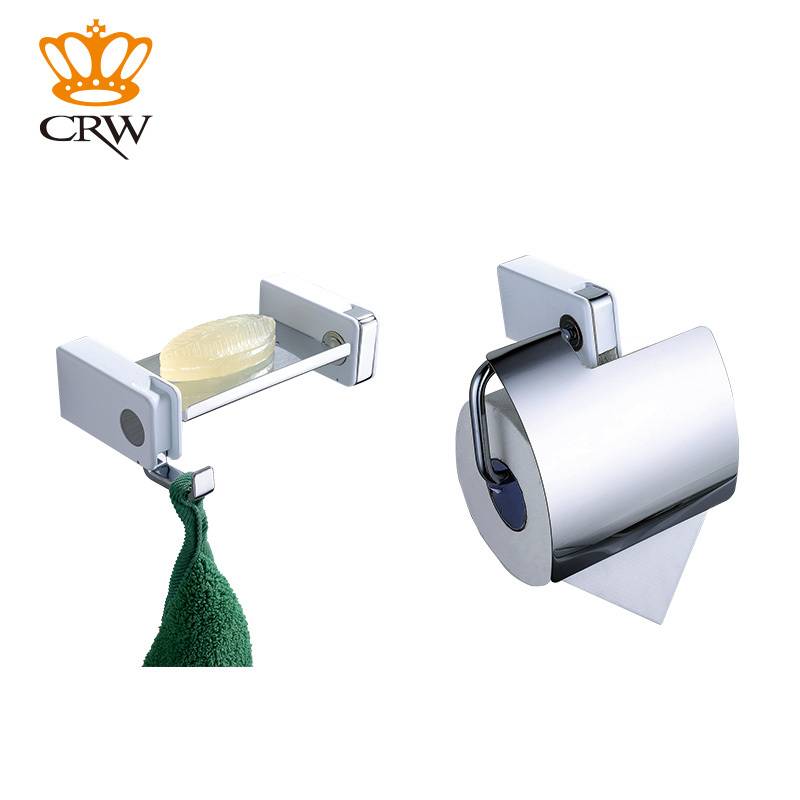CRW Bathroom Accessories Set Wall Mounted Tolilet Paper Holder With Cover,  Soap Dish 2pcs/