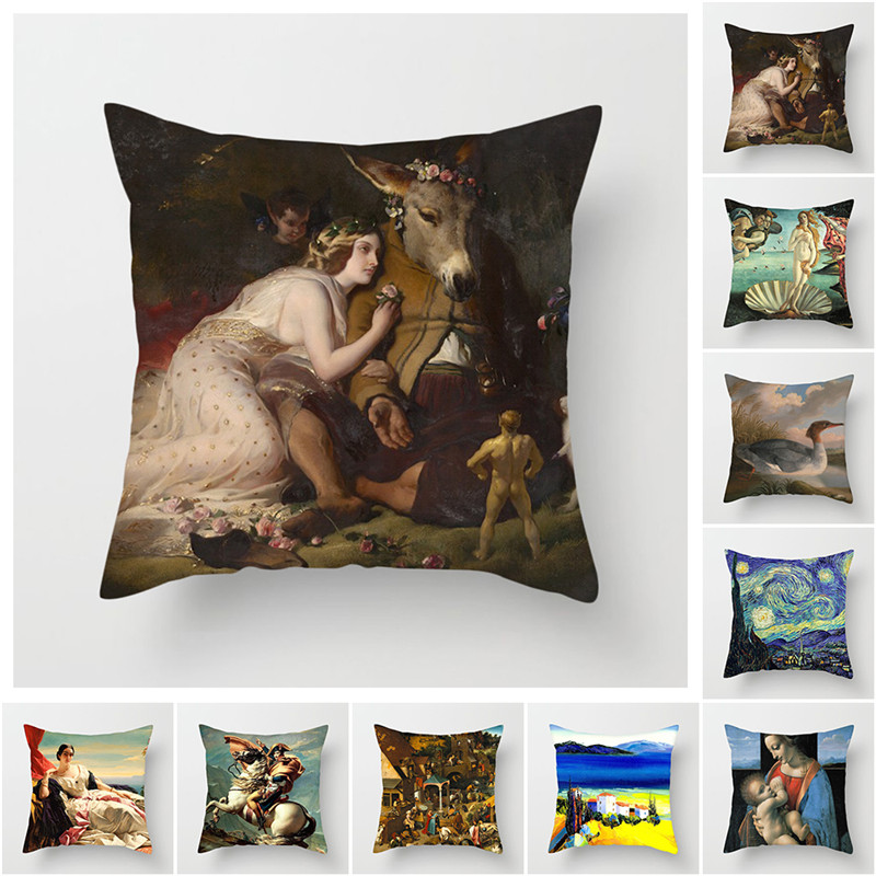 Fuwatacchi Van Gogh Painting Printed Throw Pillows Cushion Cover Pillow Cover Decorative Pillowcase for Home Sofa Bedroom