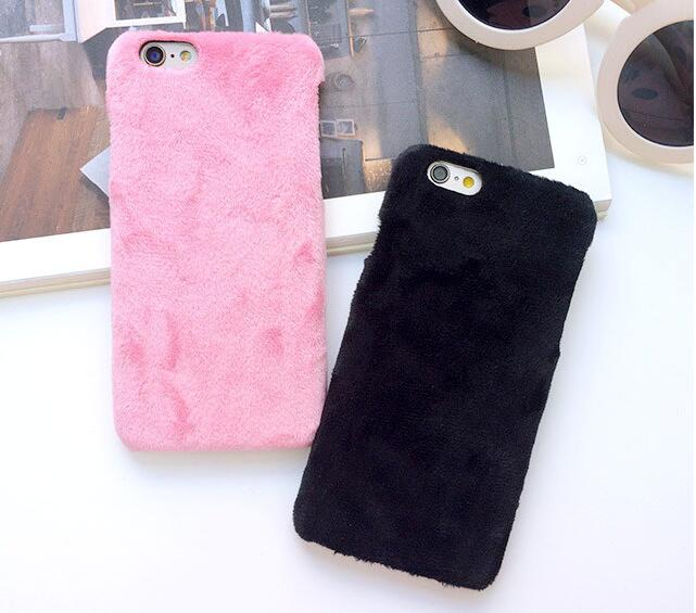 Protective Case for iPhone 7 8 Plus plush hair warm Cases apple 5S SE 6 6S plus winter pc back cover luxury houseing shell coque