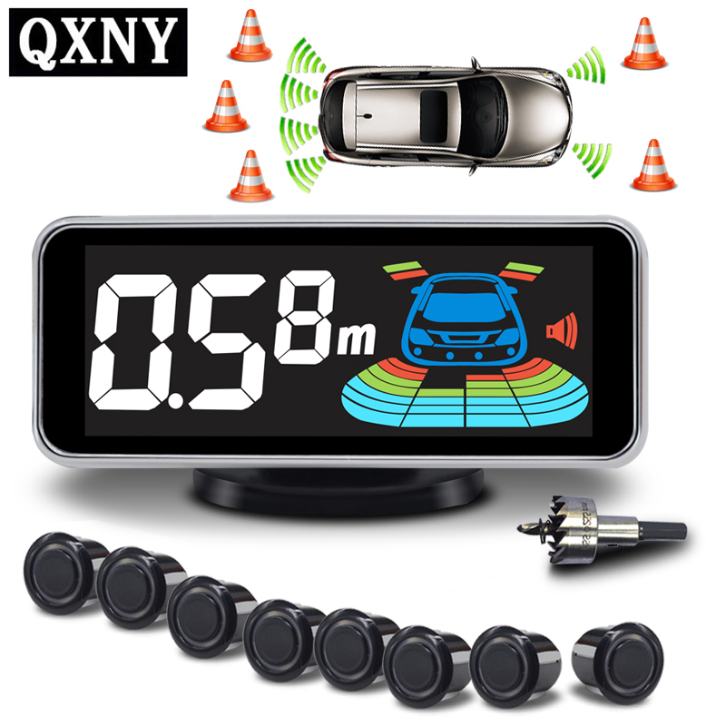 Парковочный датчик Парктроник, 8 сенсоров, автомобильный реверсивный радар, электроника, автодетектор, набор поддержки, голосовой зуммер