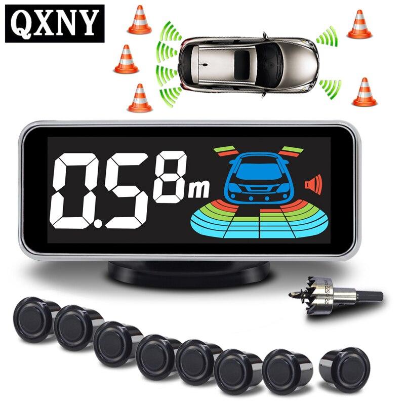 Sensor de estacionamento Parktronic Sensores 8 Automóvel Carro Invertendo Kit Assistência de Apoio Voz Eletrônica Auto Detector de Radar Buzzer