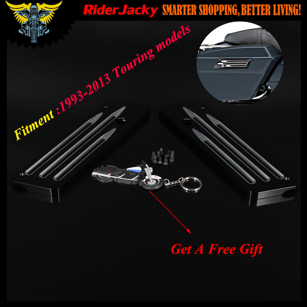 For Harley Touring Tour Street Electra Glide Road King FLT FLH FLHTC 1993-2013 Billet CNC Hard Saddle Bag Saddlebag Latch Cover saddlebag lid rack top rail w light for harley touring ultra street electra glide 94 13