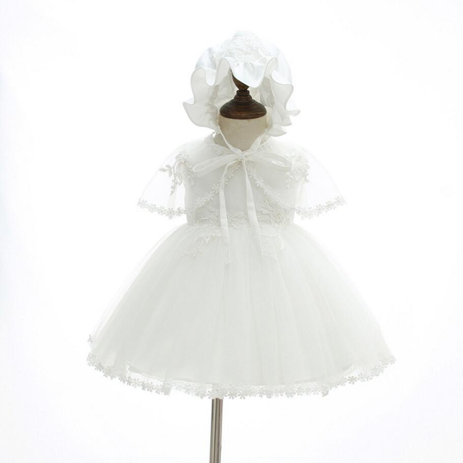 3PCs per Set Baby Girl Baptism Dress White Infant Girl Christening Gown Lace Embroidered Cape Hat 0-24Months Flowers Decoration