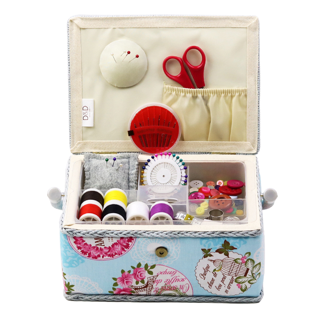 Sewing Kit Set Home Fabric Storage Baskets Scissors Thread Stitch