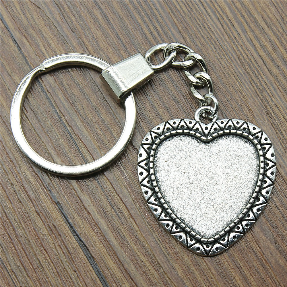 4 Styles Fit 25mm Heart Cabochon Base Setting Key Chain Jewelry Finding Jewelry Accessories For Key Ring Making DIY