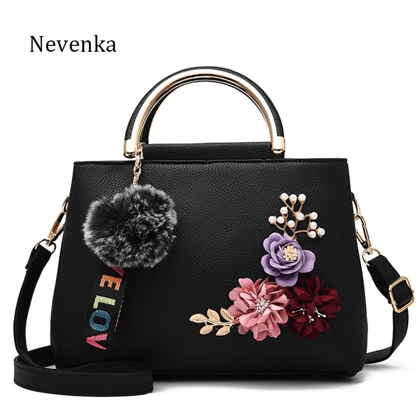 Nevenka Floral Handbags Women Top Handle Shoulder Bags PU Leather Handbag for Women Casual Totes Ladies Travelling Shopping Bag pu leather front zip floral shoulder bag
