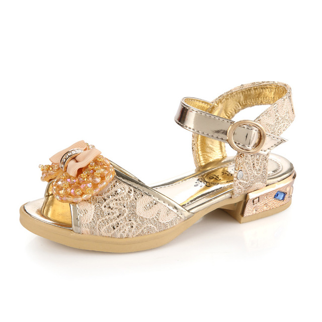 Pink Gold Girls Shoes Sandals Rhinestone Shoes Summer Children Princess Shoes Lace Kids Sandals Bow Brand Designer Size 27-36