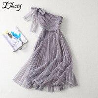 Ellacey Brand Design Party Ball Dress Women Toast Clothing Mesh Dot Formal Dress Europe America One Shoulder Dress