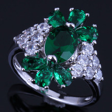Superior Plant Green Cubic Zirconia White CZ 925 Sterling Silver Ring For Women V0633