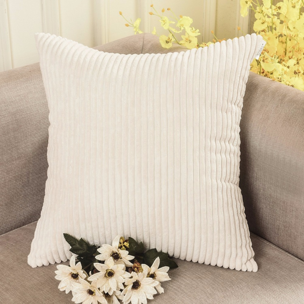 Homing Solid Color Striped Corduroy Cushion Cover Soft