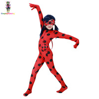Miraculous Ladybug Kids Costume High 115 145cm Girl Ladybug Halloween Party Costumes Children Insect Rompers Child