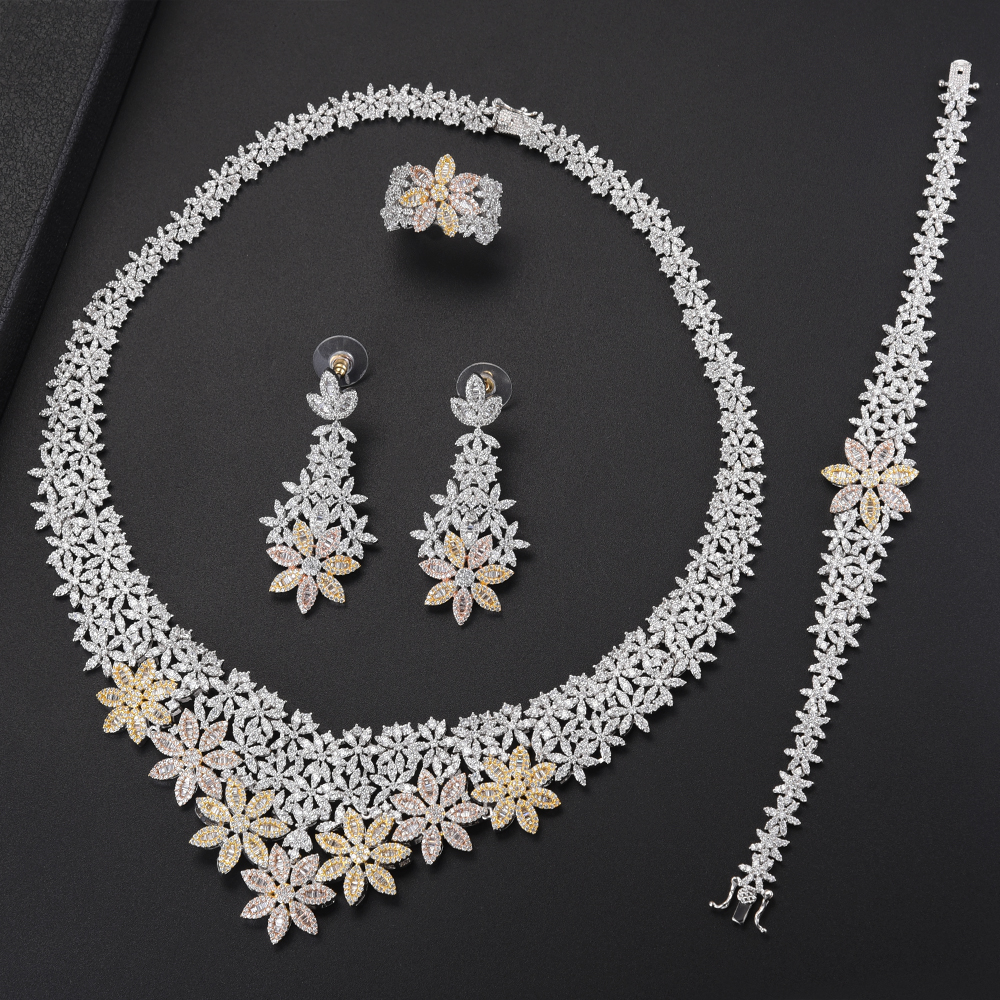 4PCS Fashion Dubai Women Bridal Wedding Jewelry Sets Necklace Earrings Bracelet Ring Jewelry Sets Cubic Zirconia Inlaid Jewelry 4pcs bridal fashion flower cubic zirconia inlaid wedding necklace dangle earrings bracelet ring jewelry set boucle d oreille