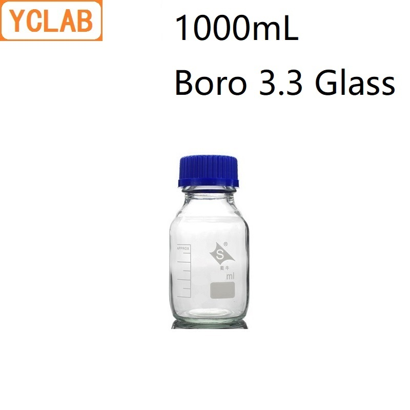 YCLAB 1000mL Reagent Bottle 1L Screw Mouth With Blue Cap Boro 3.3 Glass Transparent Clear Medical Laboratory Chemistry Equipment