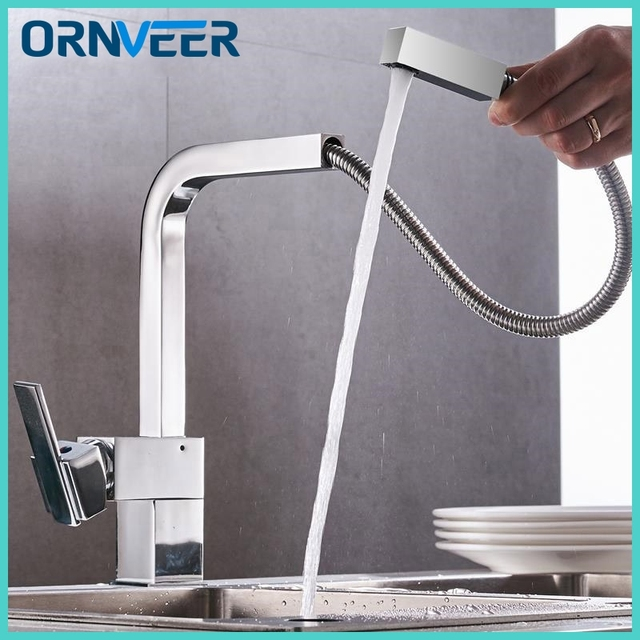 2018 Modern New Chrome Pull Out Kitchen Faucet Square Brass Kitchen