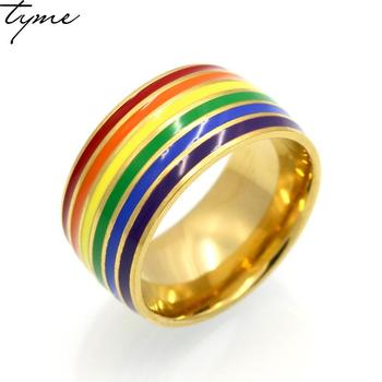 2017 tytanu stali nierdzewnej Rainbow kolor epoksydowa złoty kolor pierścień dla kobiety mężczyzna kolorowe i nowy stali nierdzewnej czerwony kamień biżuteria kobiety prezent