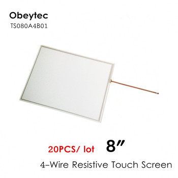 20PCS! Obeytec 8inch 4:3 Four-wire Touch screen Panel, ITO Touch Sensor, High quality, Active area 163.4*122.4 mm, TS080A4B01
