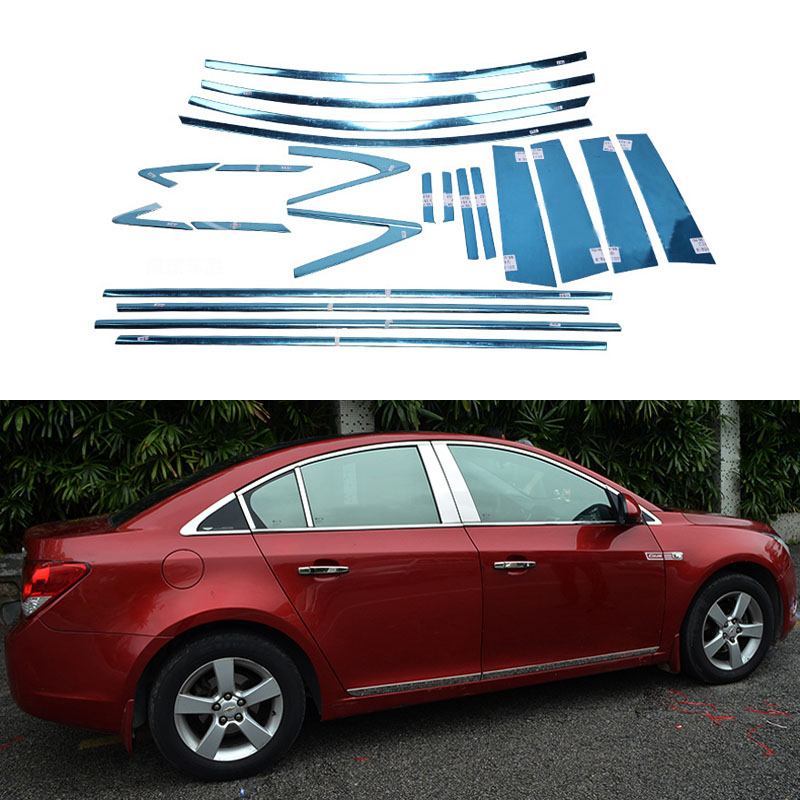 Stainless Steel Full Window Trim Front Triangle Decoration Strips For Chevrolet Cruze 2009 2010 2011 2012 2013 2014 OEM-22 stainless steel full window trim decoration strips for mercedes benz glk300 2008 2009 2010 2011 2012 car styling oem 14 22